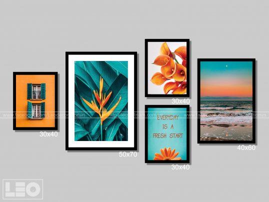 Bộ 5 tranh trang trí Canvas Orange 2