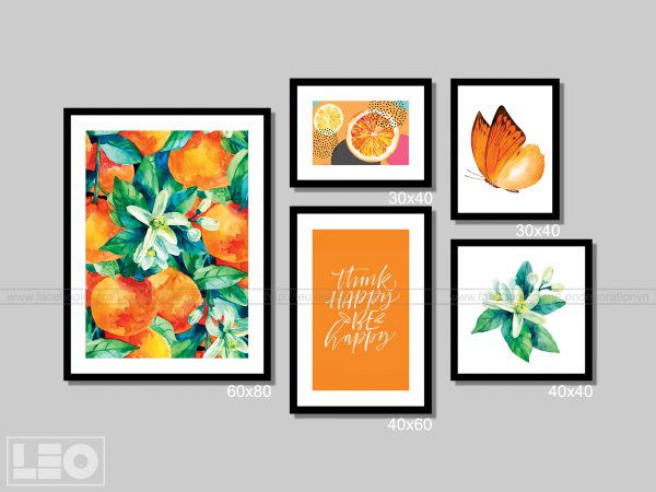 Bộ 5 tranh trang trí Canvas Orange 3