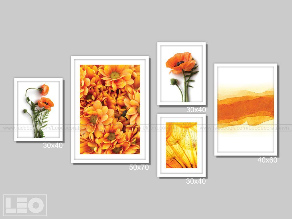 Bộ 5 tranh trang trí Canvas Orange 4