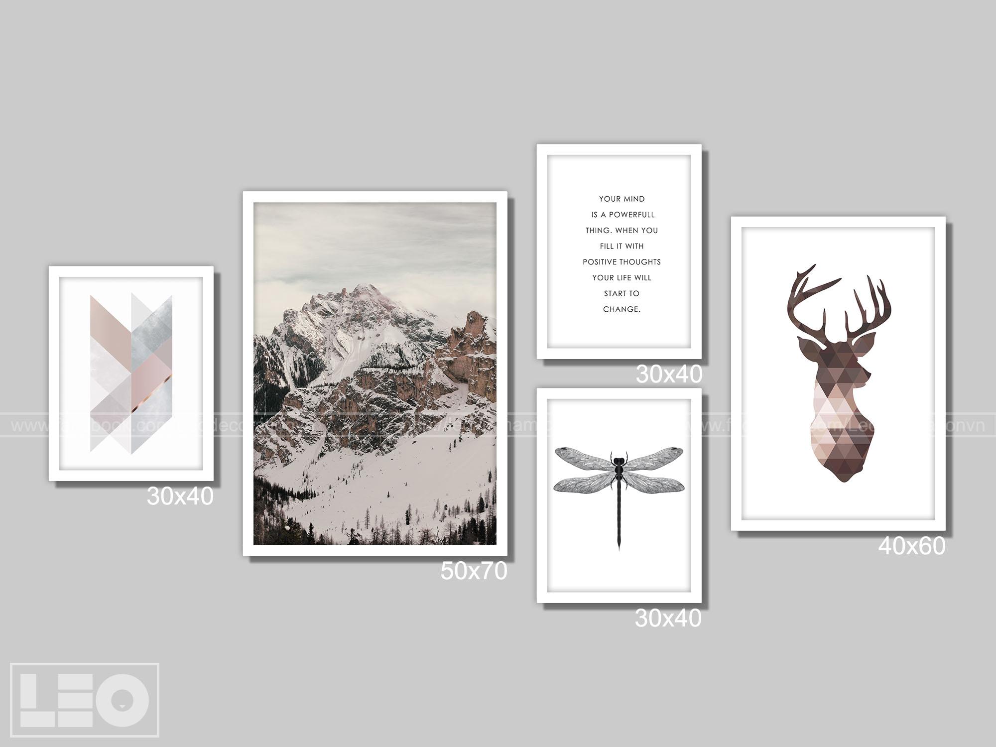 Tranh trang trí hiện đại - 111 moutain and deer