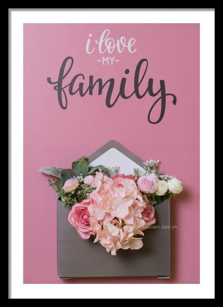 Tranh trang trí gắn hoa lụa Message Love 1
