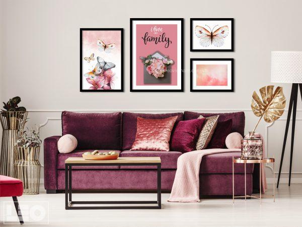 Tranh trang trí gắn hoa lụa Message Love 2