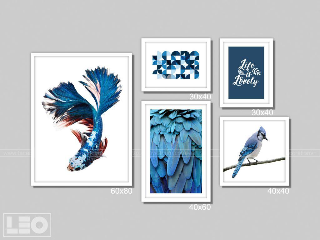 Bộ 5 tranh trang trí màu Blue