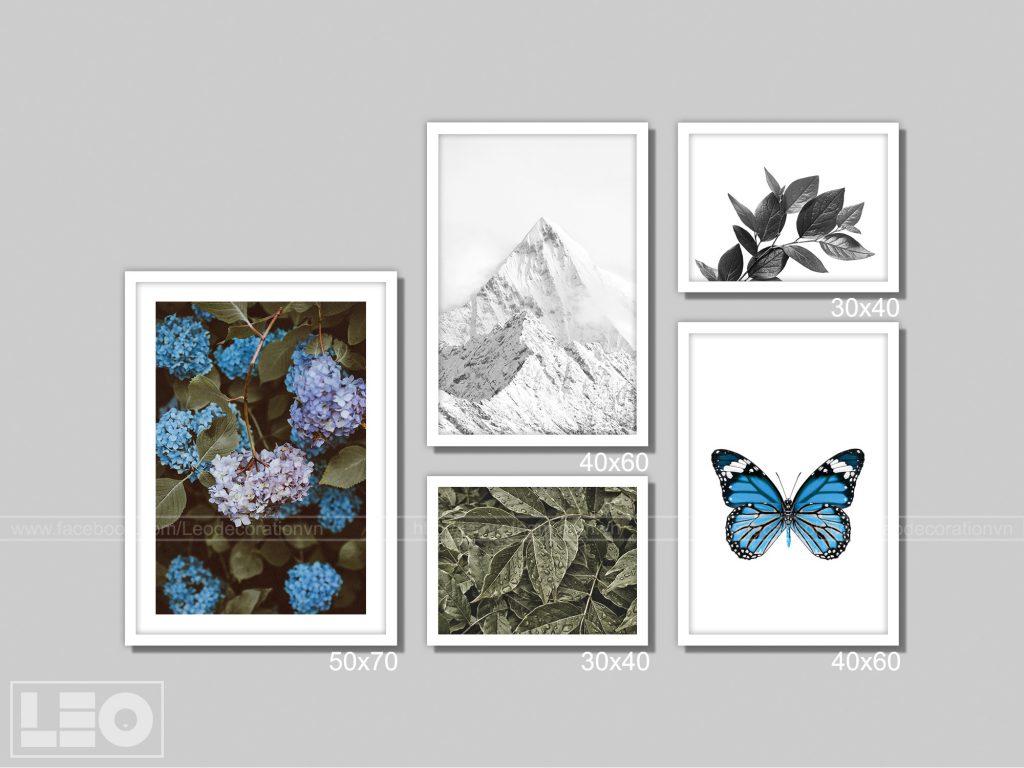 Bộ 5 tranh treo tường Winter Bloom 1