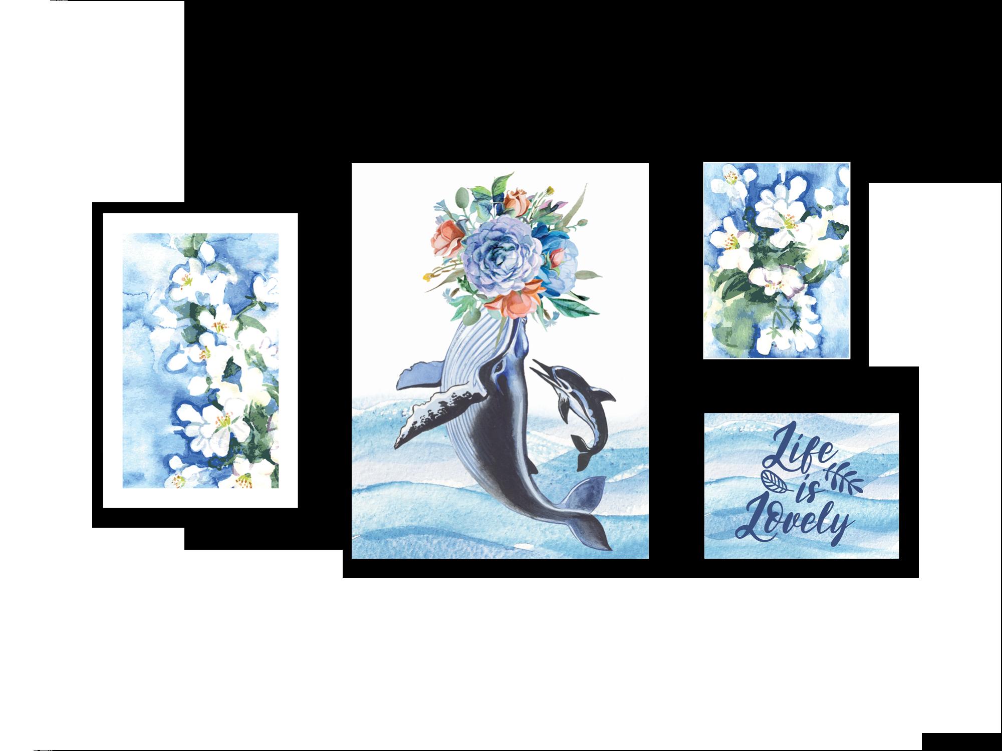 Tranh gắn hoa lụa BLue dolphin