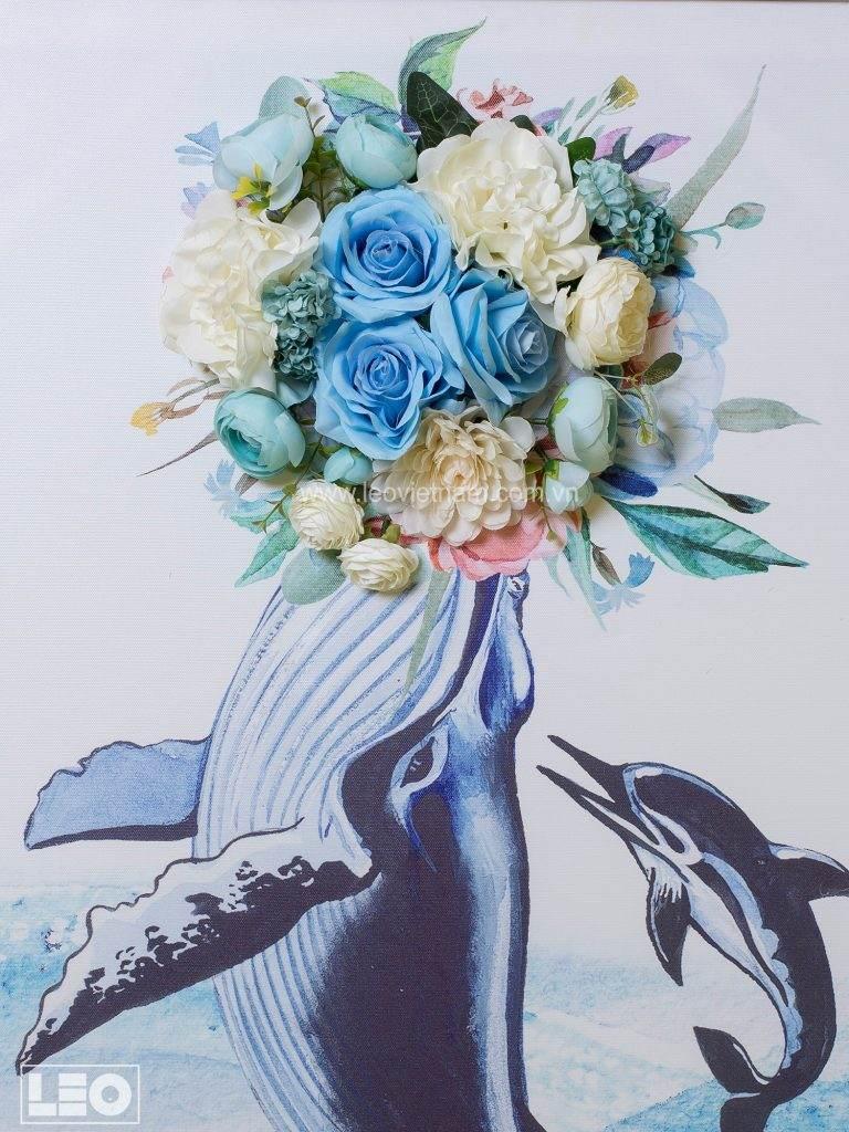 Tranh gắn hoa lụa Flower Talk 2