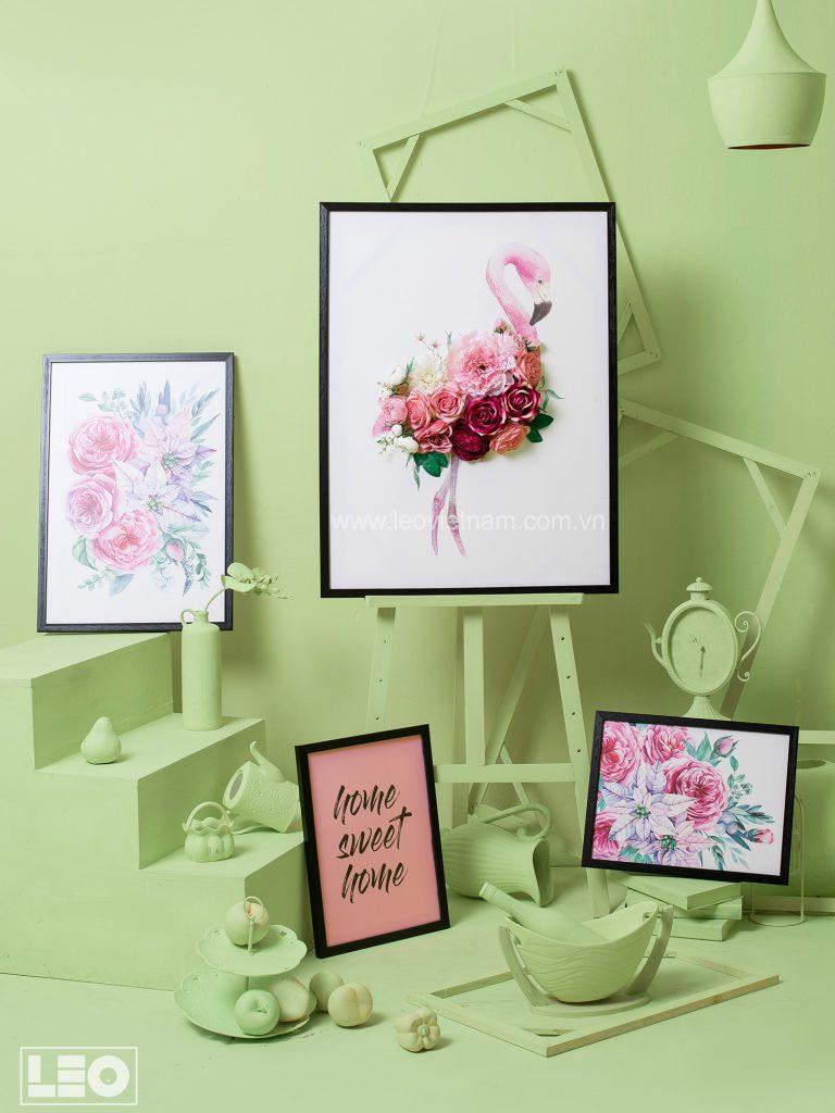 Tranh gắn hoa lụa Flower Talk 3