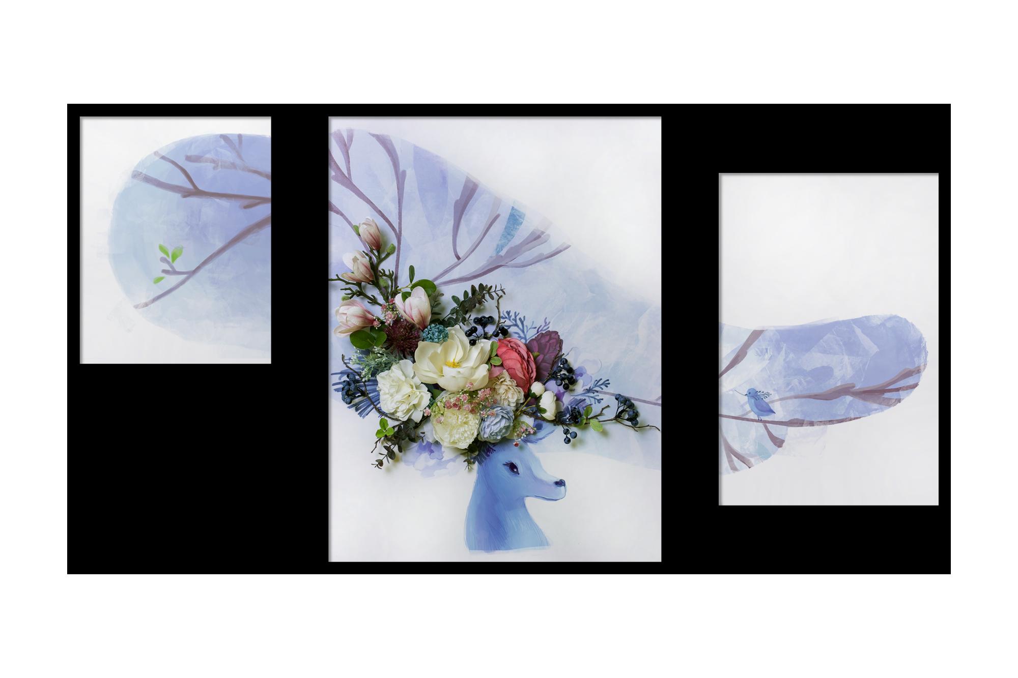 Tranh gắn hoa lụa Spirited Forest 03