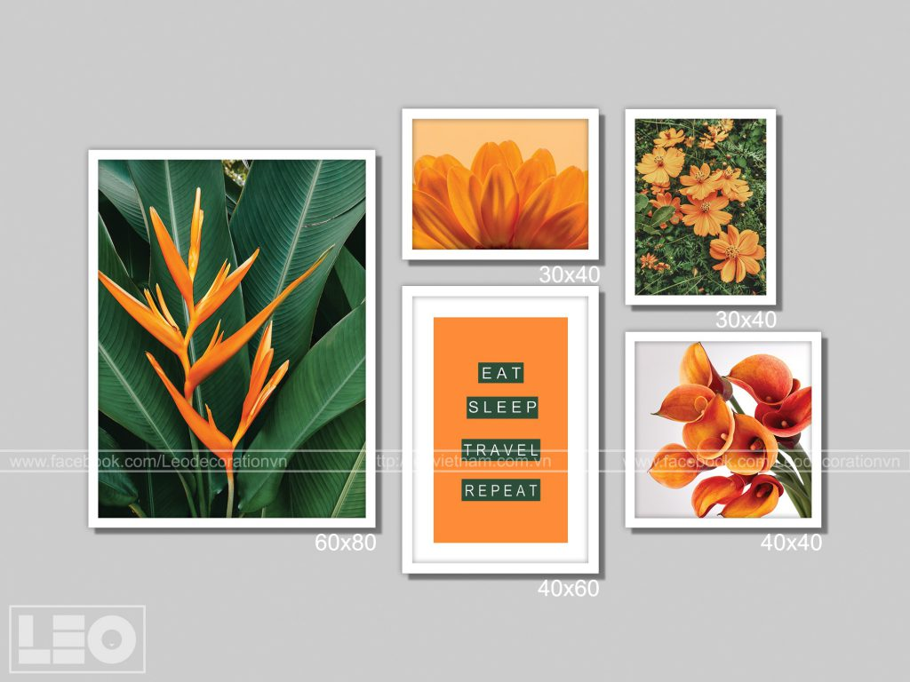 Bộ tranh trang trí Canvas Orange 5