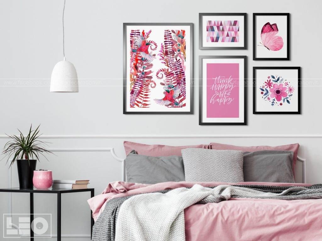 Bộ 5 tranh trang trí màu Hồng