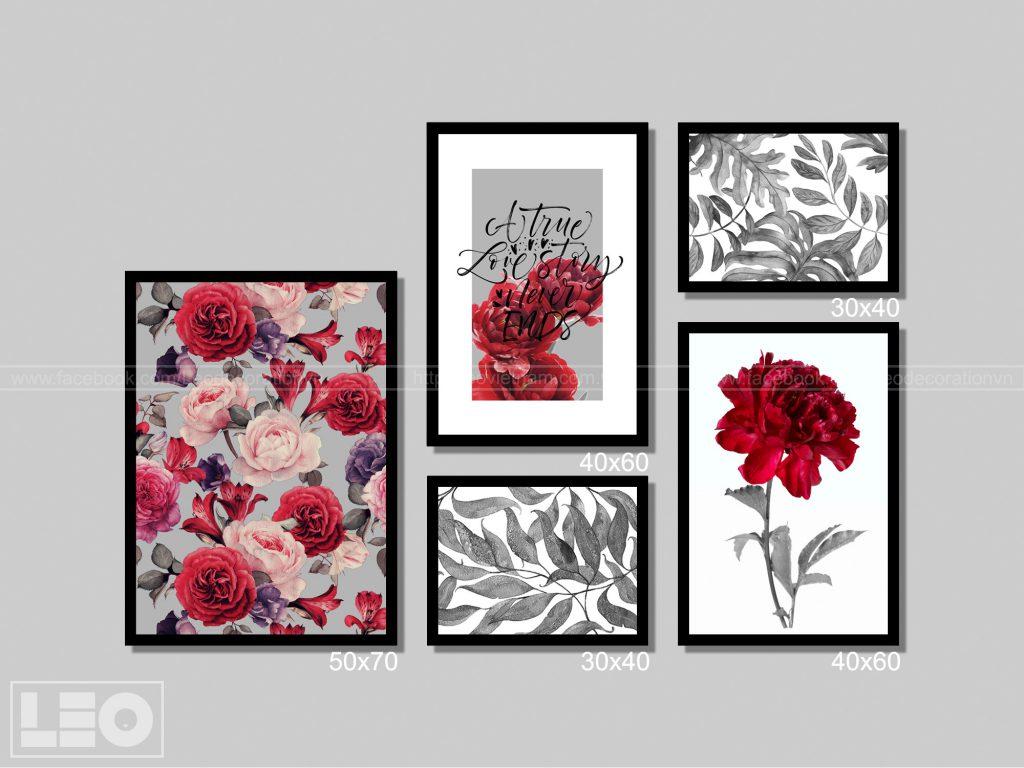 Bộ 5 tranh trang trí màu Đỏ