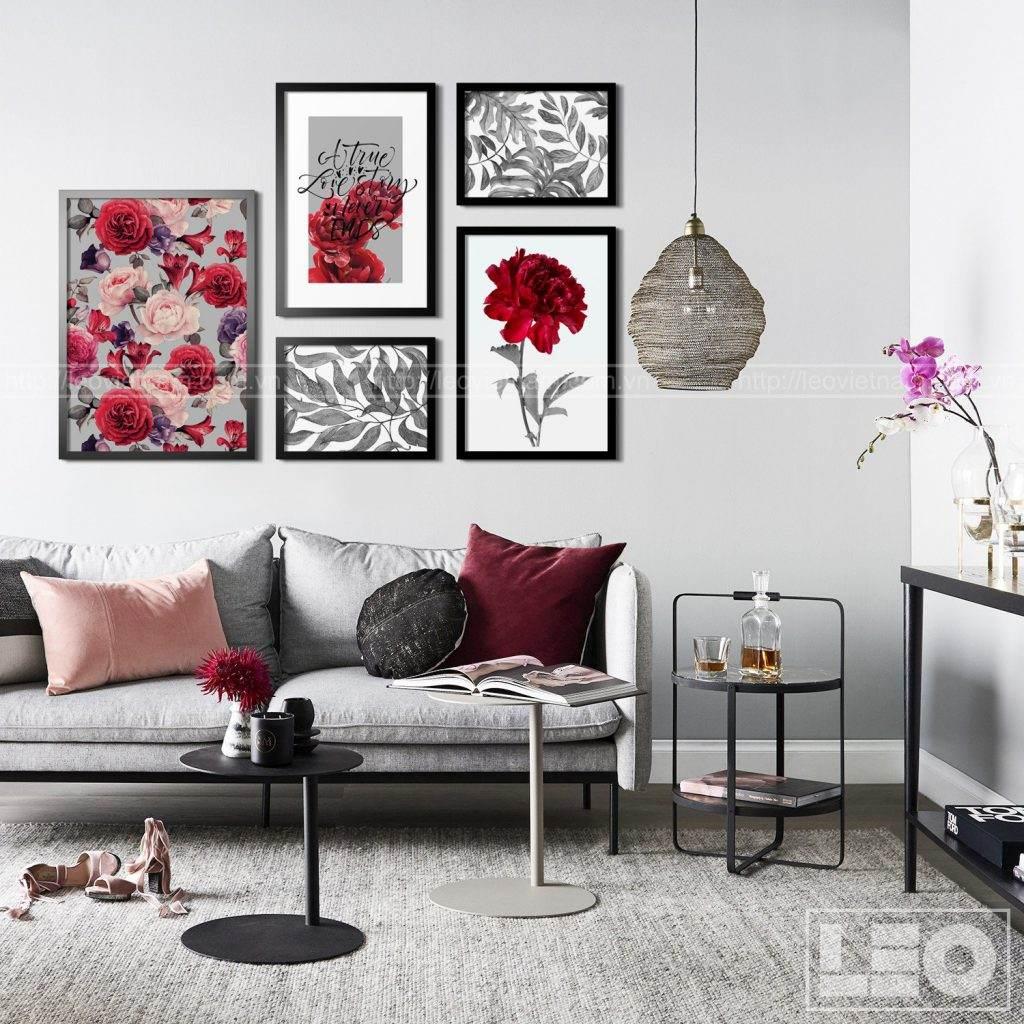 Bộ 5 tranh trang trí Hoa Đỏ