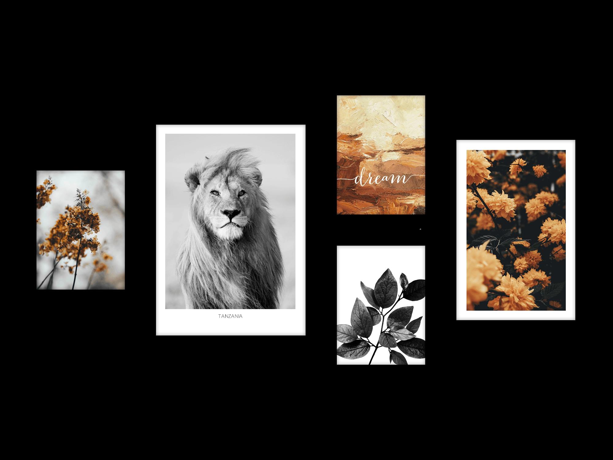 Bộ 5 tranh treo tường Winter Bloom Lion