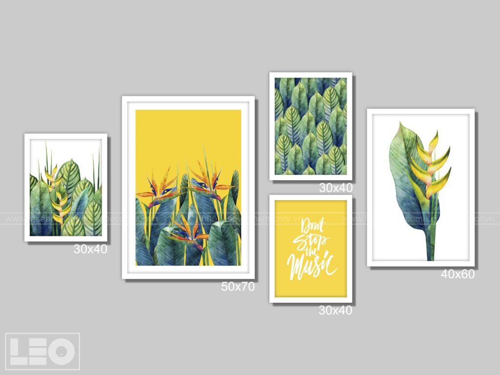Bộ 5 tranh trang trí màu Vàng
