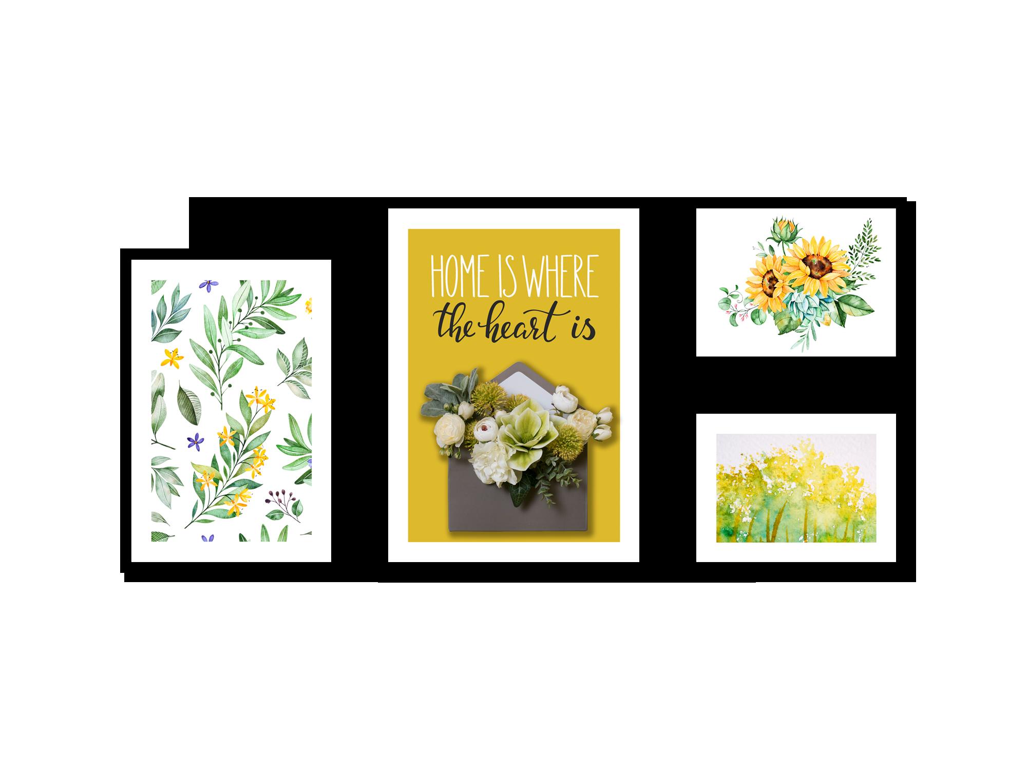 Tranh gắn hoa lụa Yellow messenger