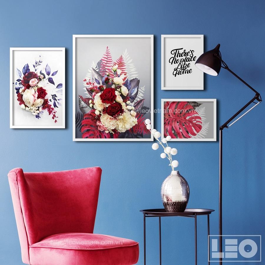 Bộ 4 tranh treo tường Red Blooms