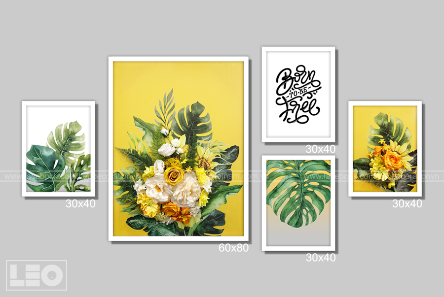 Bộ 5 tranh trang trí Yellow Blooms
