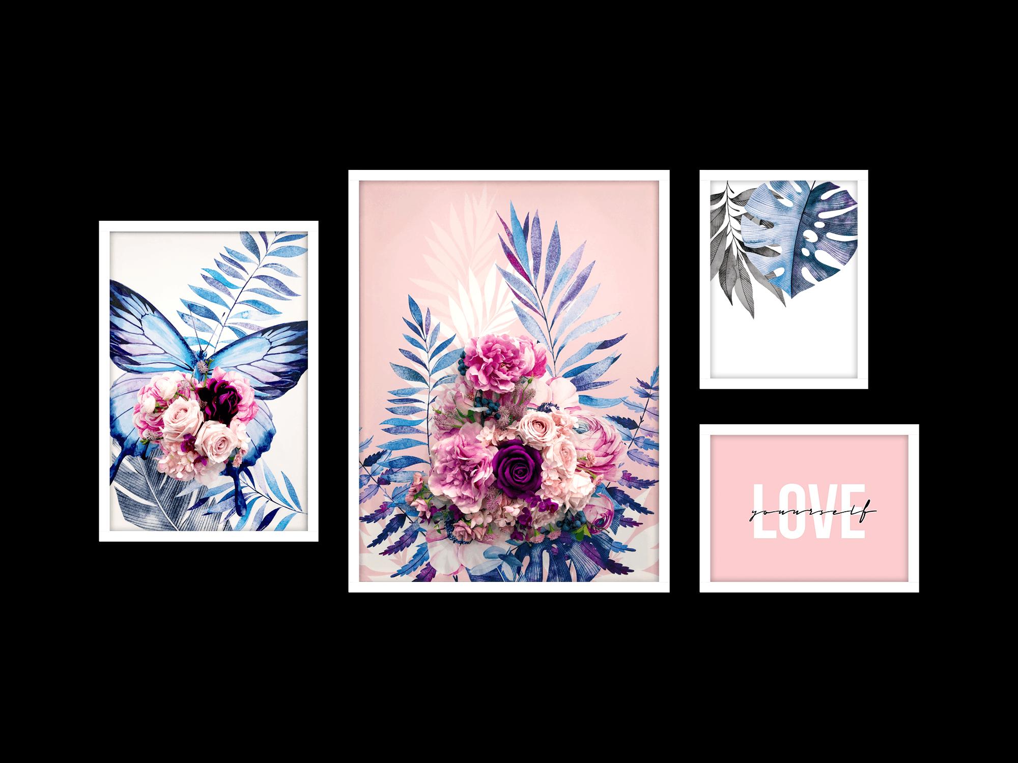 Bộ 4 tranh trang trí Pink Blooms