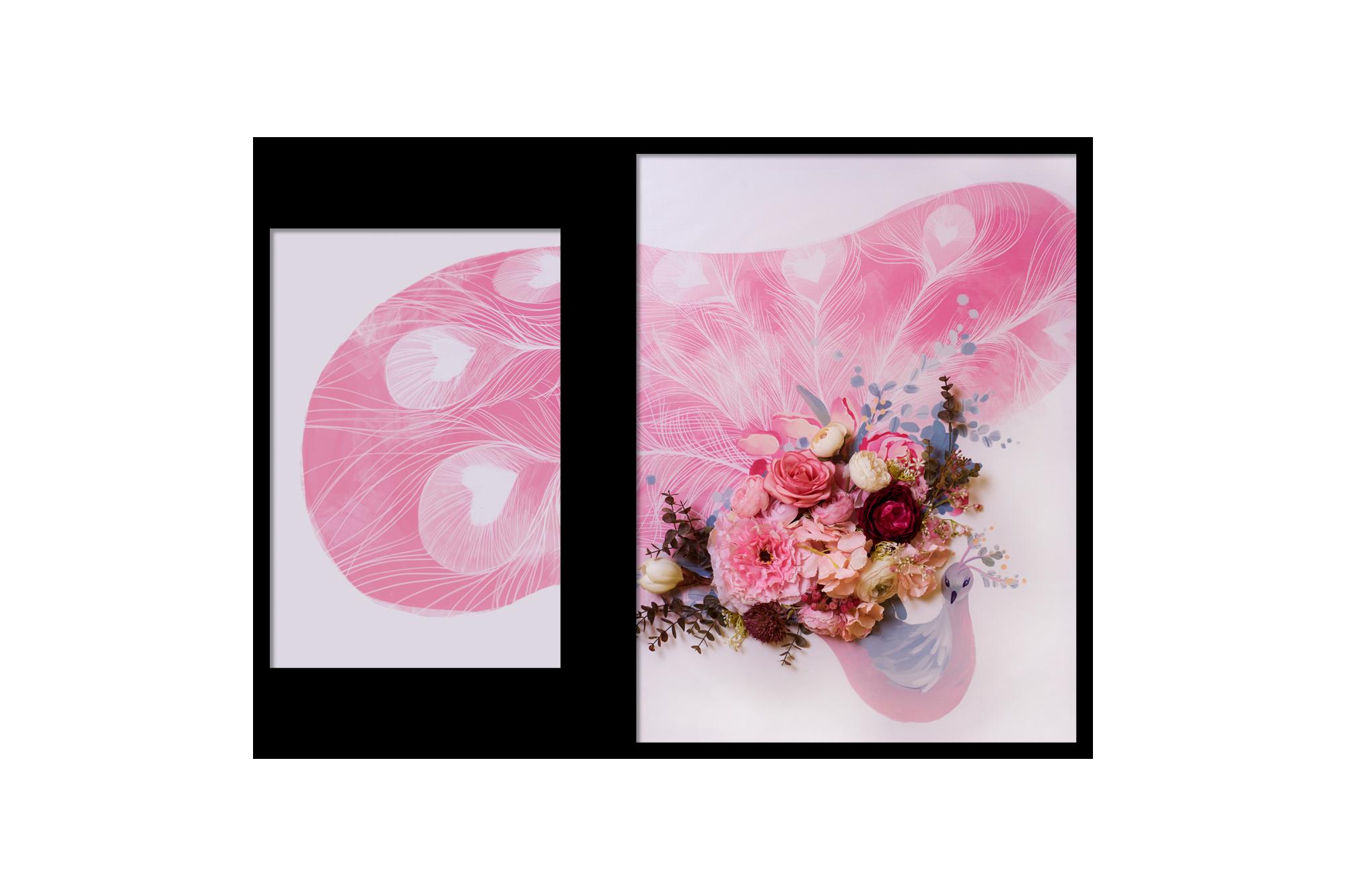 Tranh gắn hoa lụa Spirited Forest 04