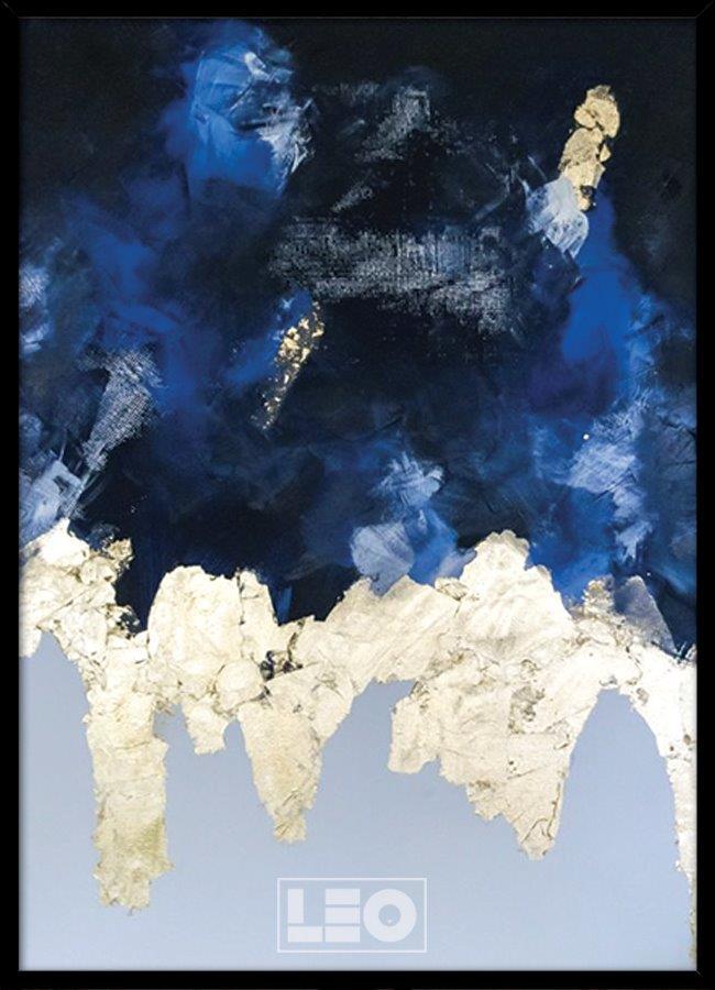 Tranh sơn dầu dát vàng Navy abstract