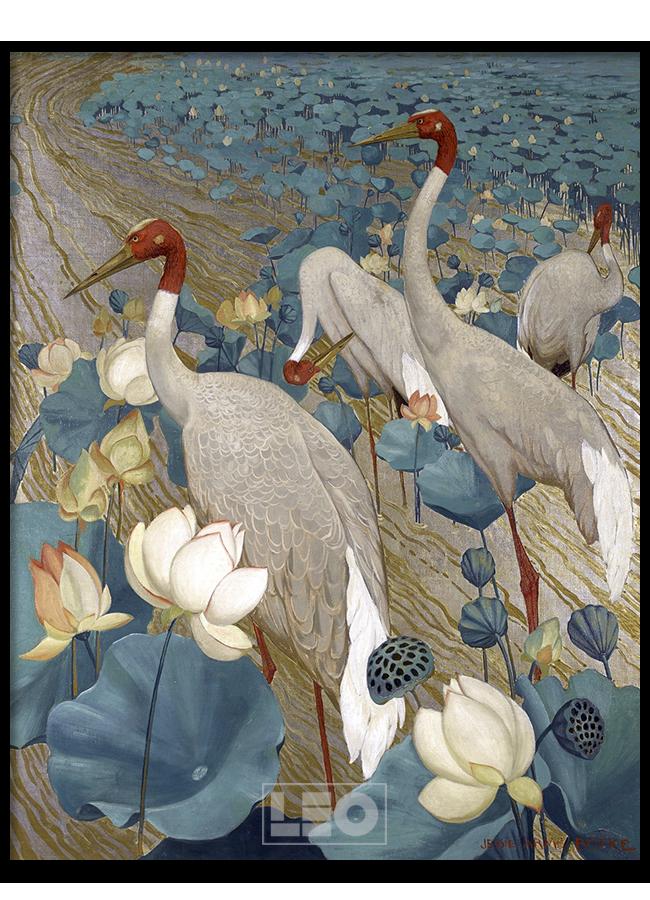 Tranh sơn dầu Crane n Lotus