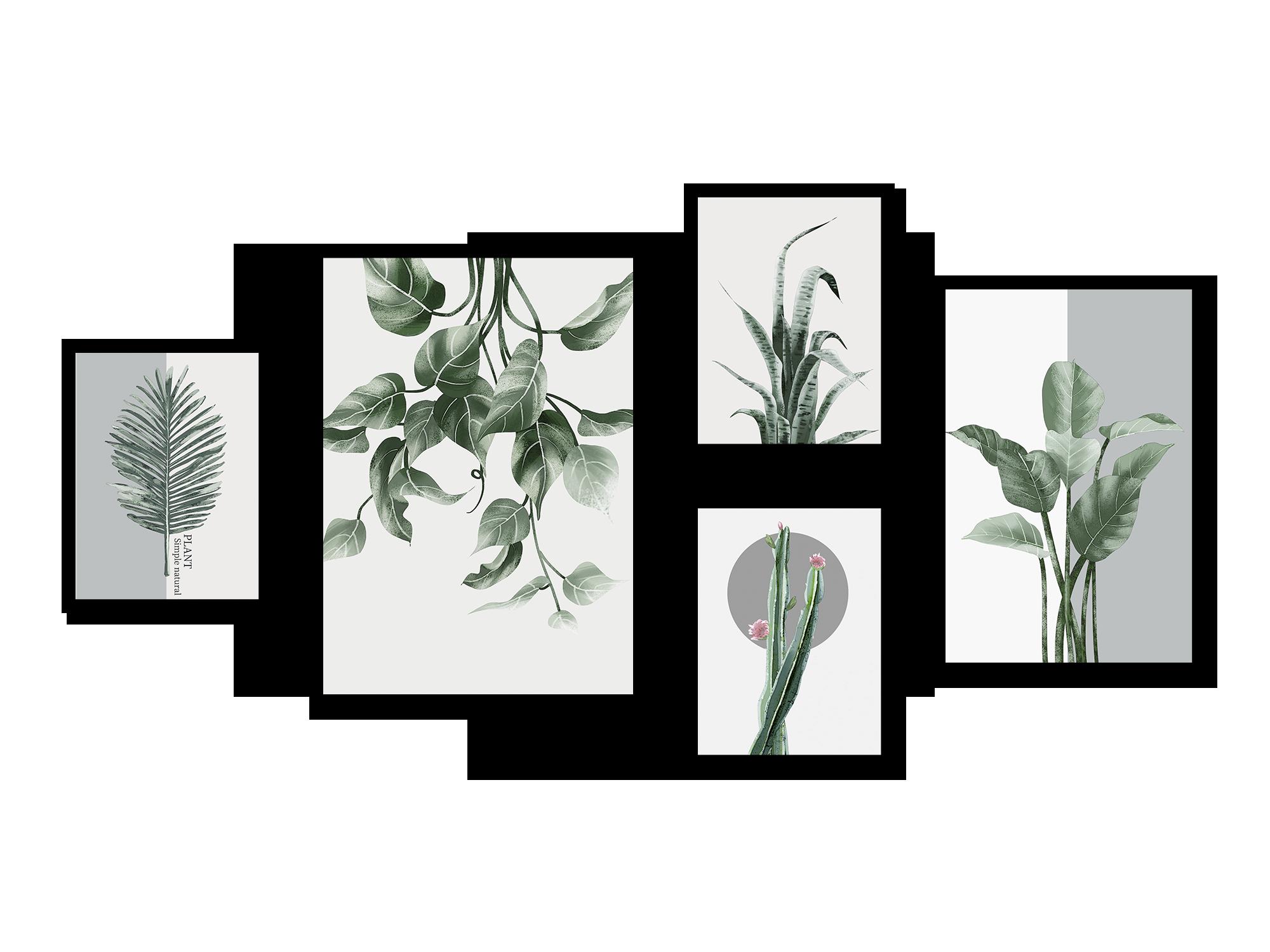 Bộ 5 tranh canvas Nordic Green