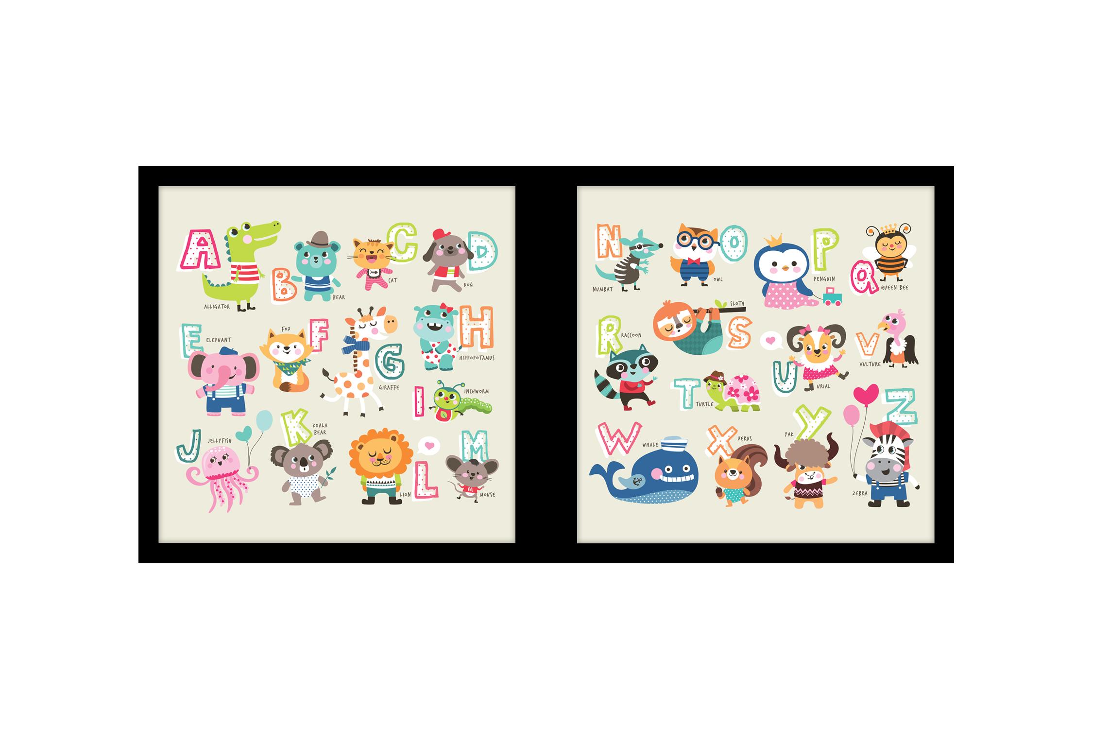 Tranh trang trí phòng trẻ em Alphabet Animal No1