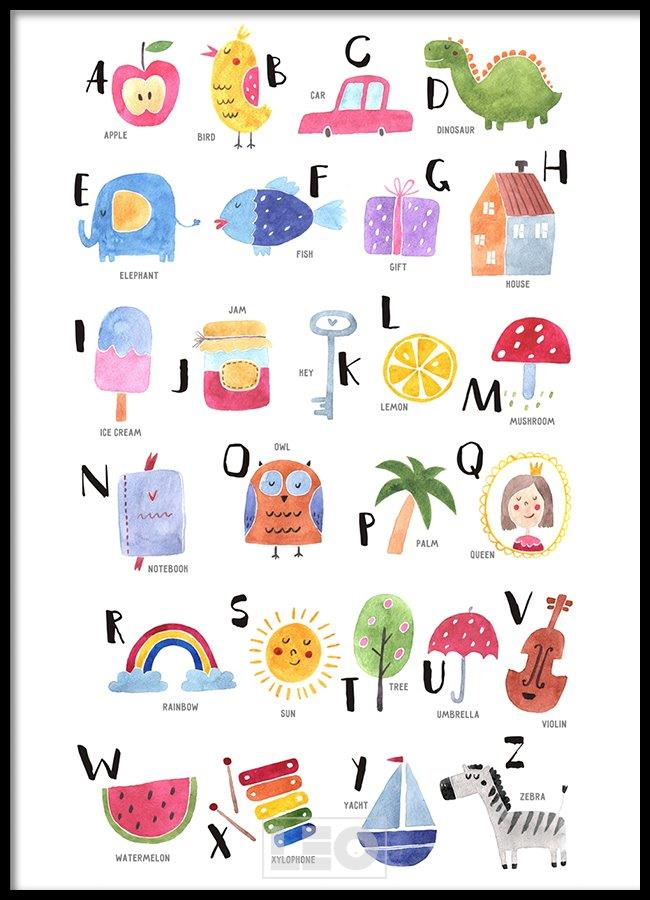 Tranh lẻ canvas alphabet kid 01