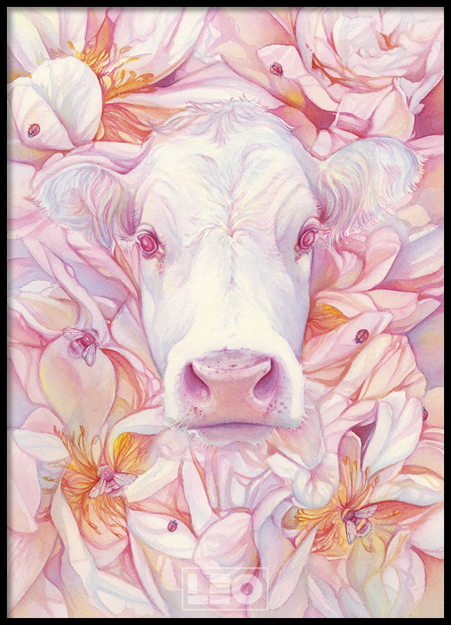 TRANH LẺ CANVAS PINK FLOWER COW