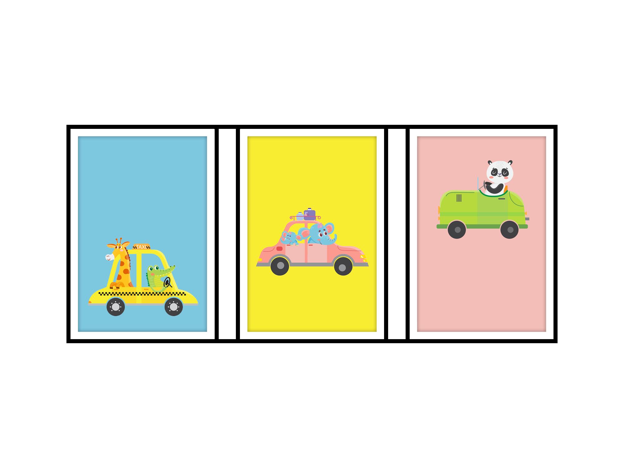 Tranh trang trí phòng trẻ em animal and car