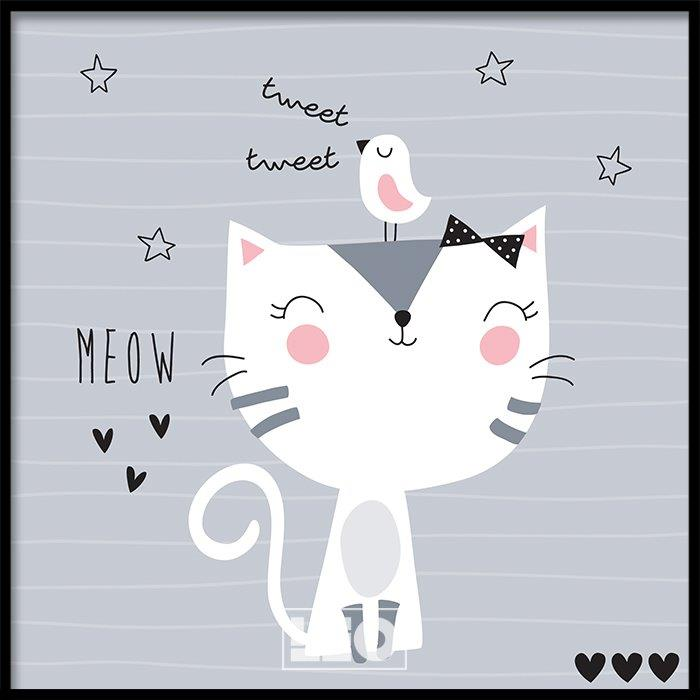 Tranh lẻ canvas square cat meow