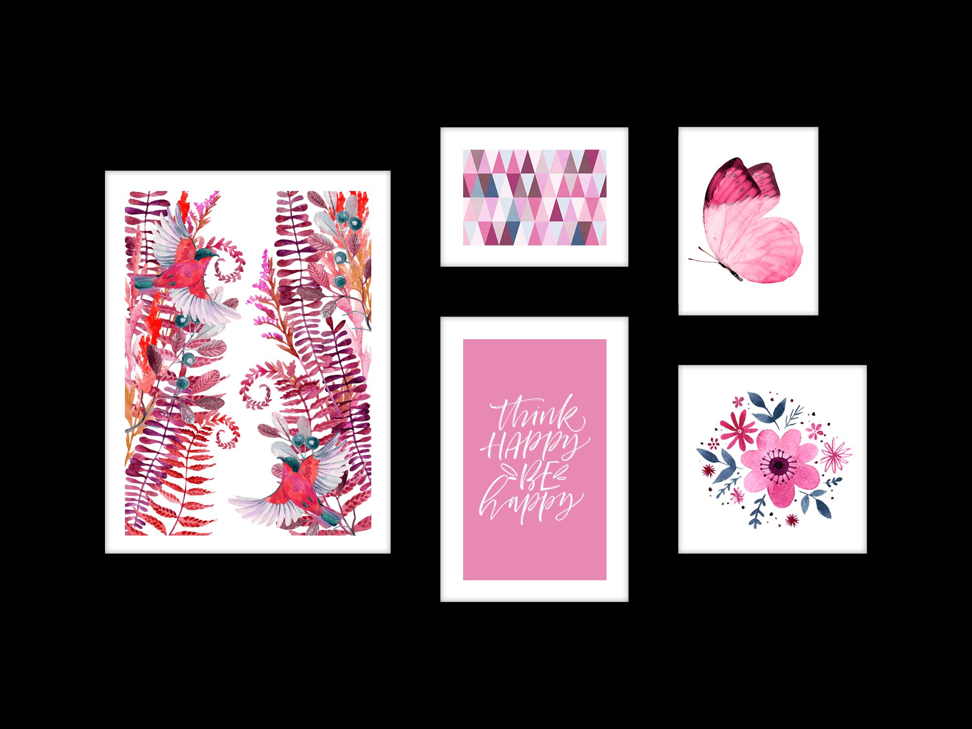 Bộ 5 tranh trang trí Pink Life