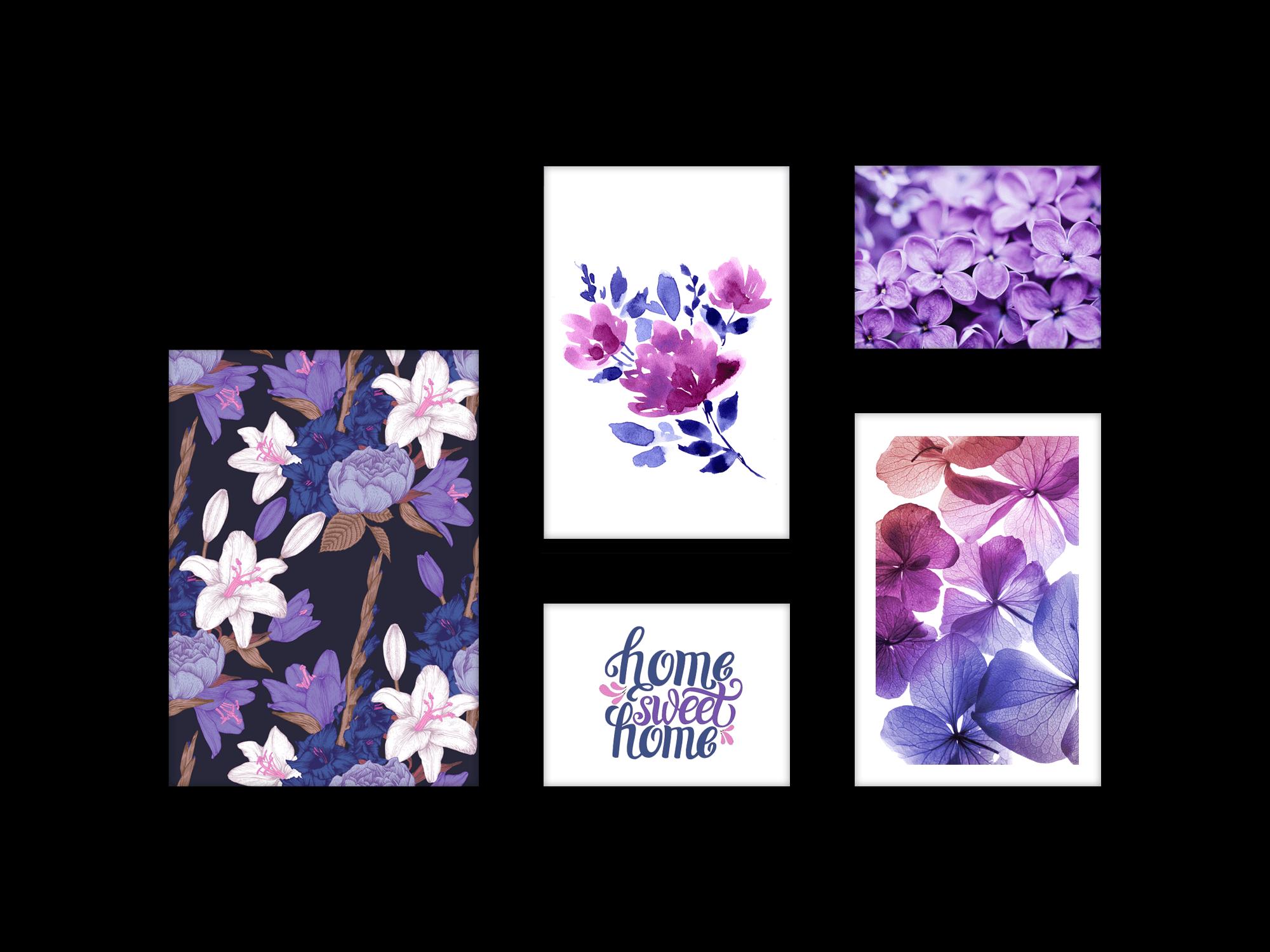 Bộ 5 tranh trang trí Purple Garden