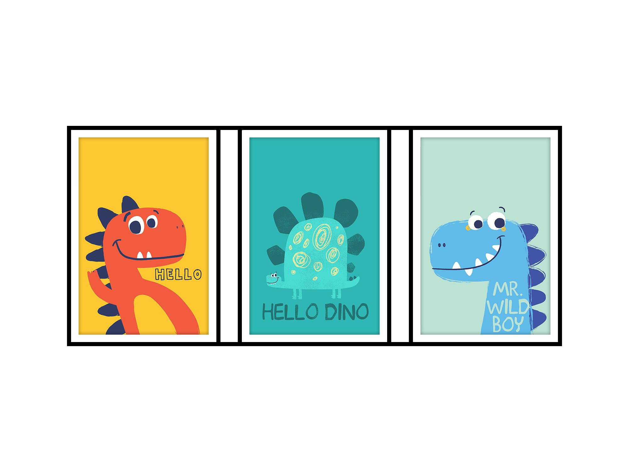 Tranh trang trí phòng trẻ em Happy Dinosaur