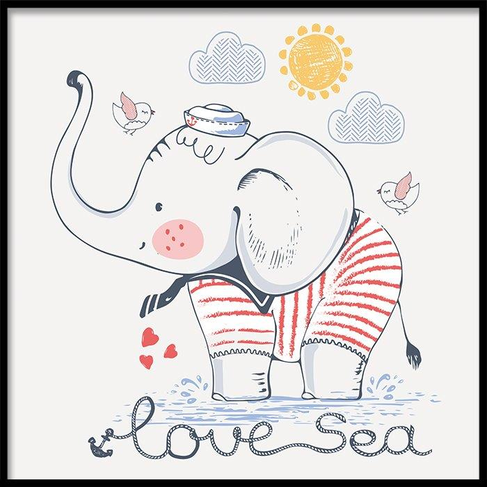 Tranh lẻ canvas square elephant love sea