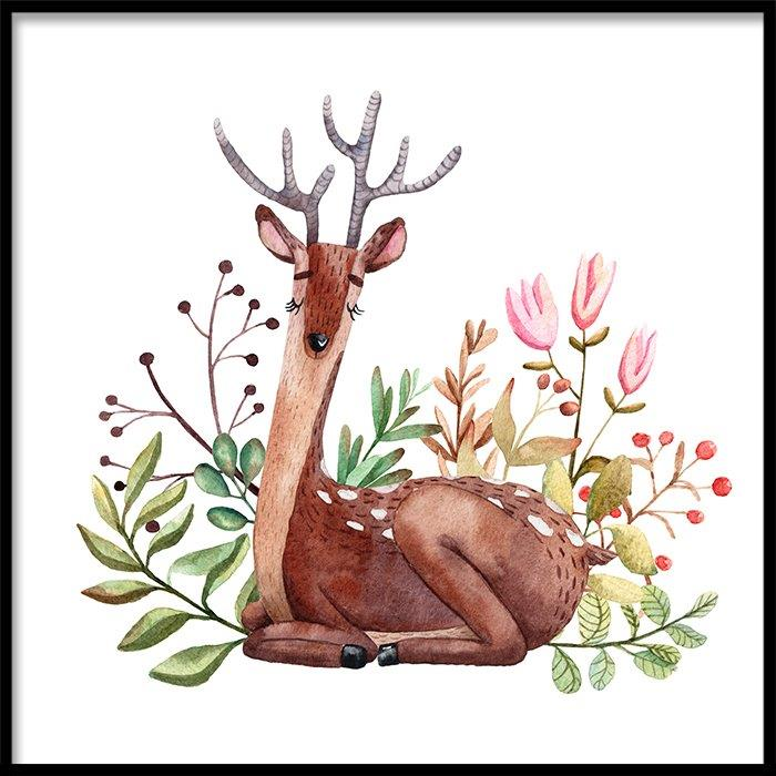 Tranh lẻ canvas square flower deer
