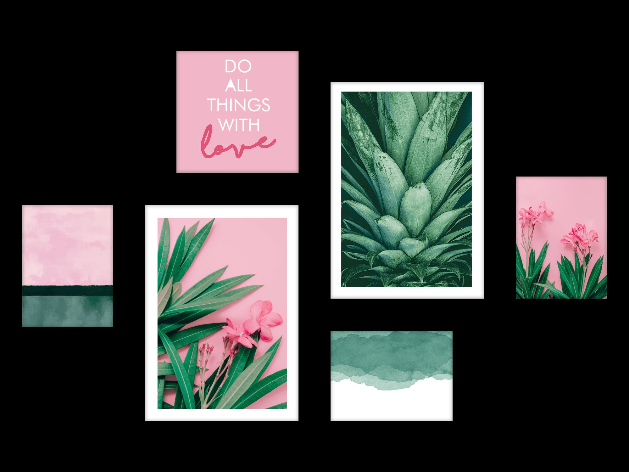 Tranh bộ canvas Pink Green