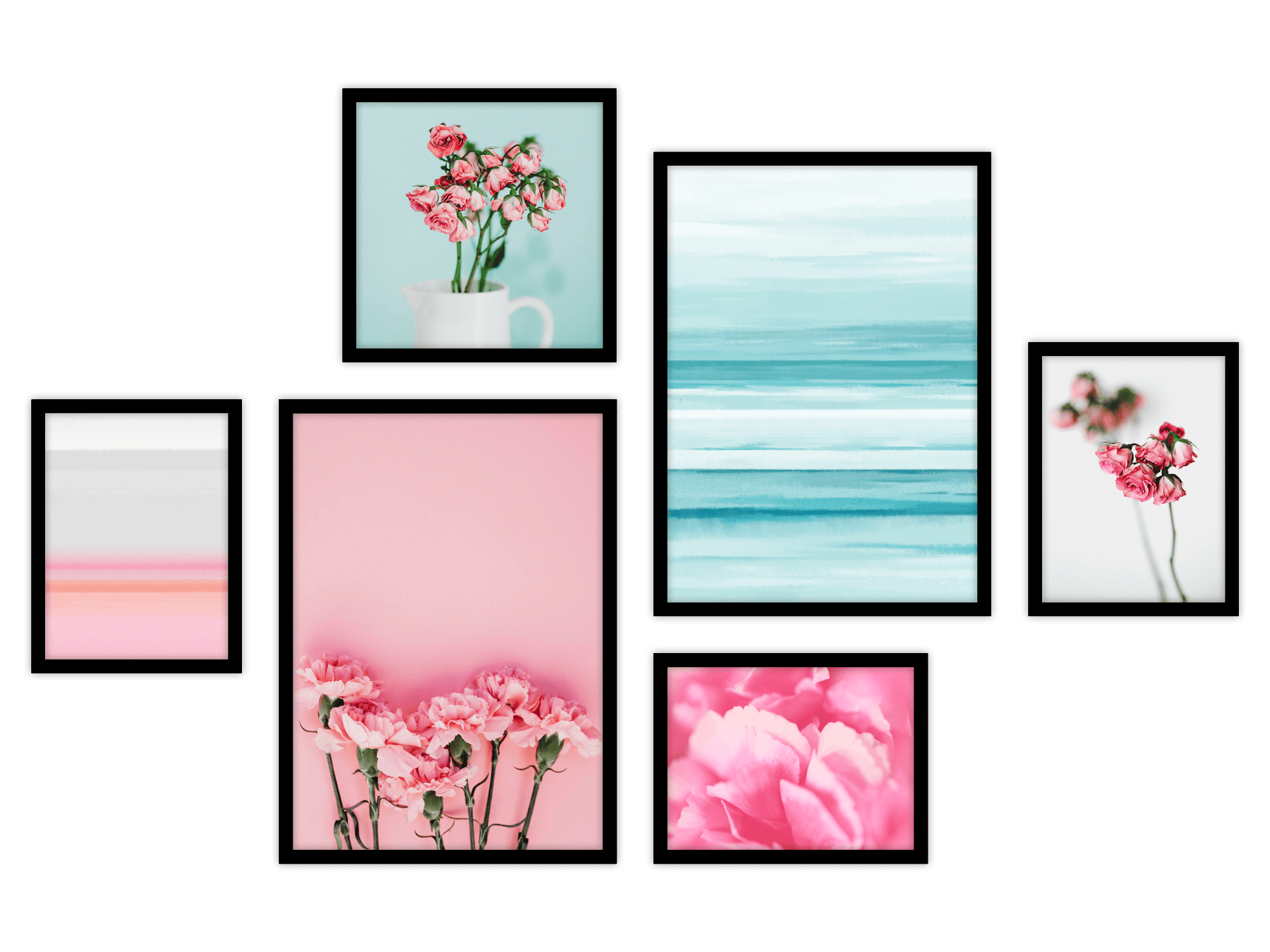 Tranh bộ canvas Pink and Turquoise