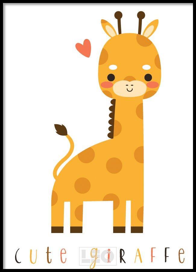 Tranh lẻ canvas kute giraffe