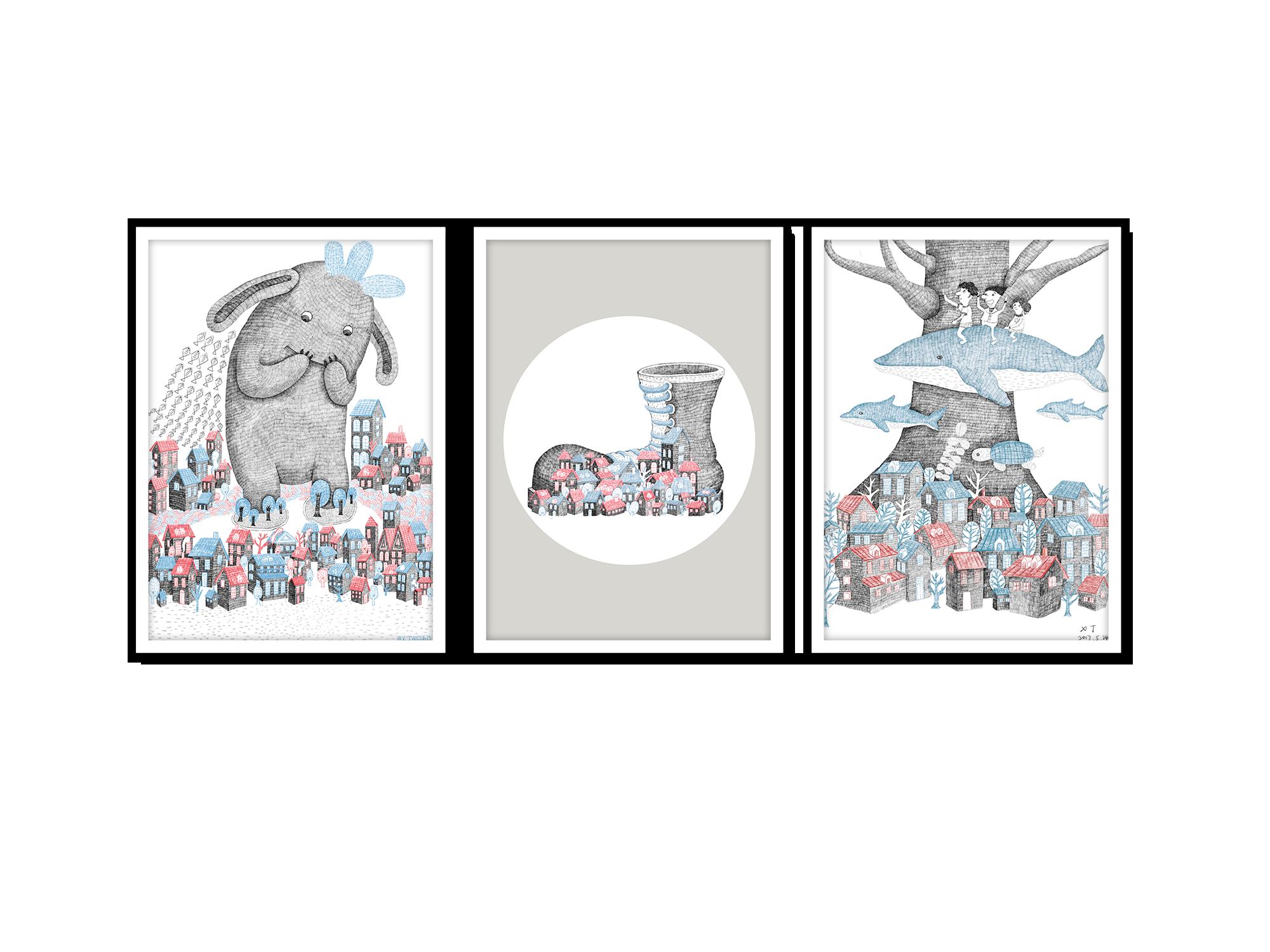 Tranh trang trí phòng trẻ em Lost in tiny world