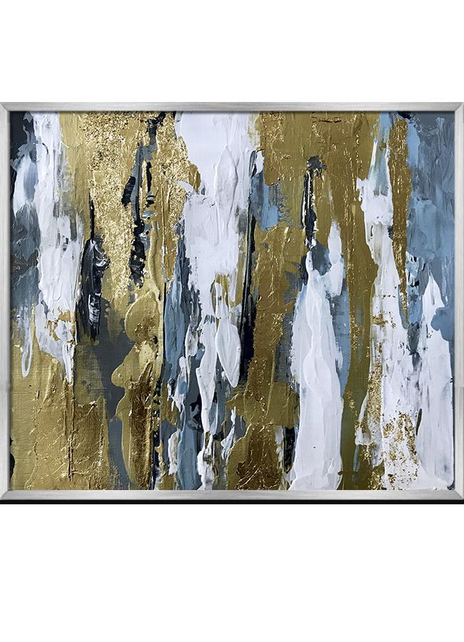 Tranh sơn dầu dát vàng Blue white abstract