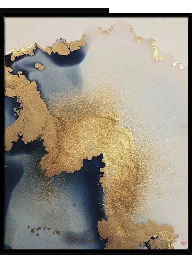 Tranh sơn dầu dát vàng Sunset wave