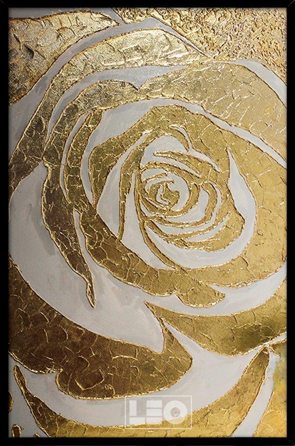 Tranh sơn dầu dát vàng Golden rose