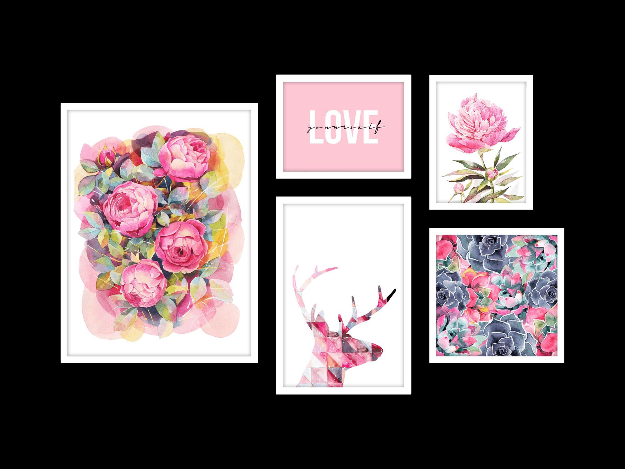 Bộ 5 tranh treo tường My Sweet Home Pink