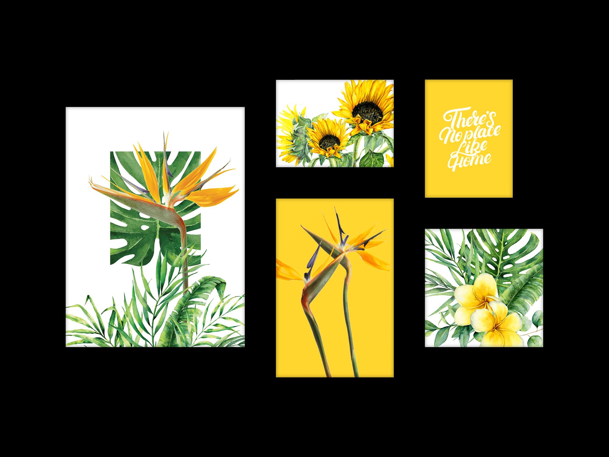 Bộ 5 tranh treo tường My Sweet Home Yellow