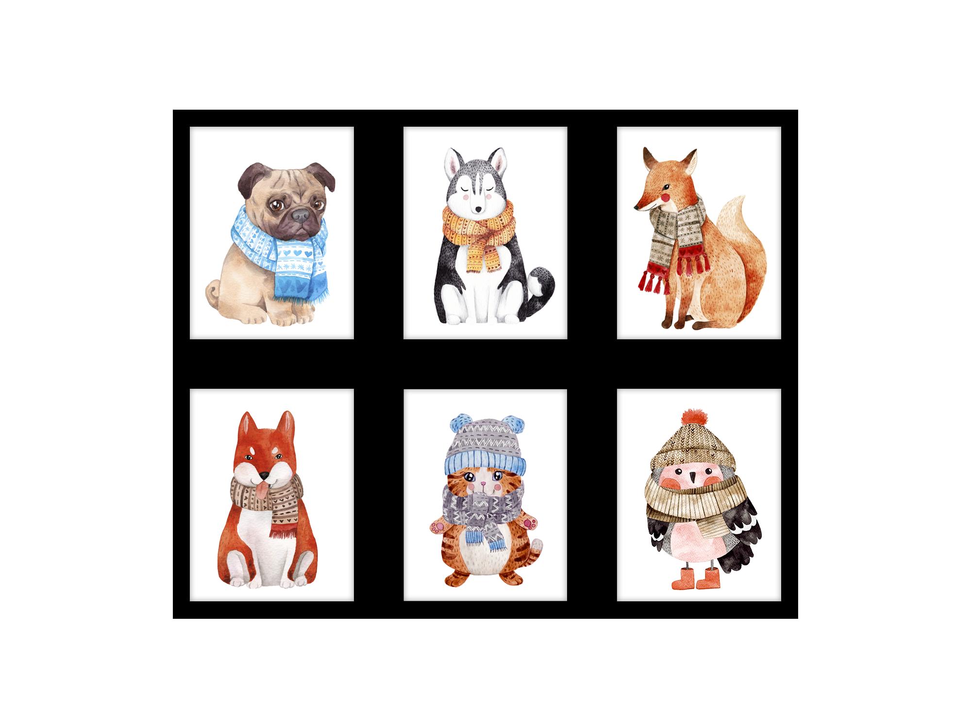 Tranh trang trí phòng trẻ em Winter animal