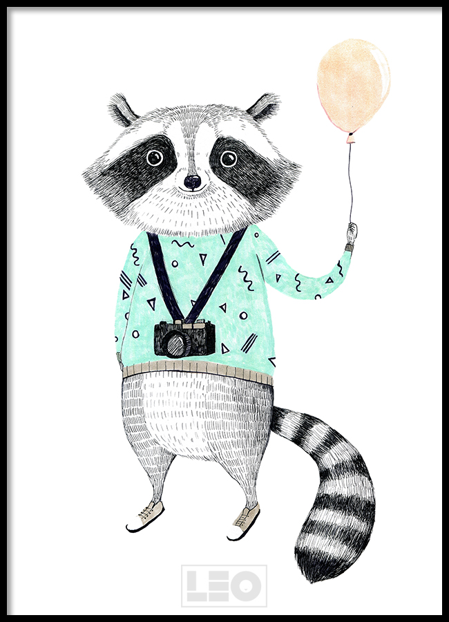 Tranh đơn canvas raccoon with balloon