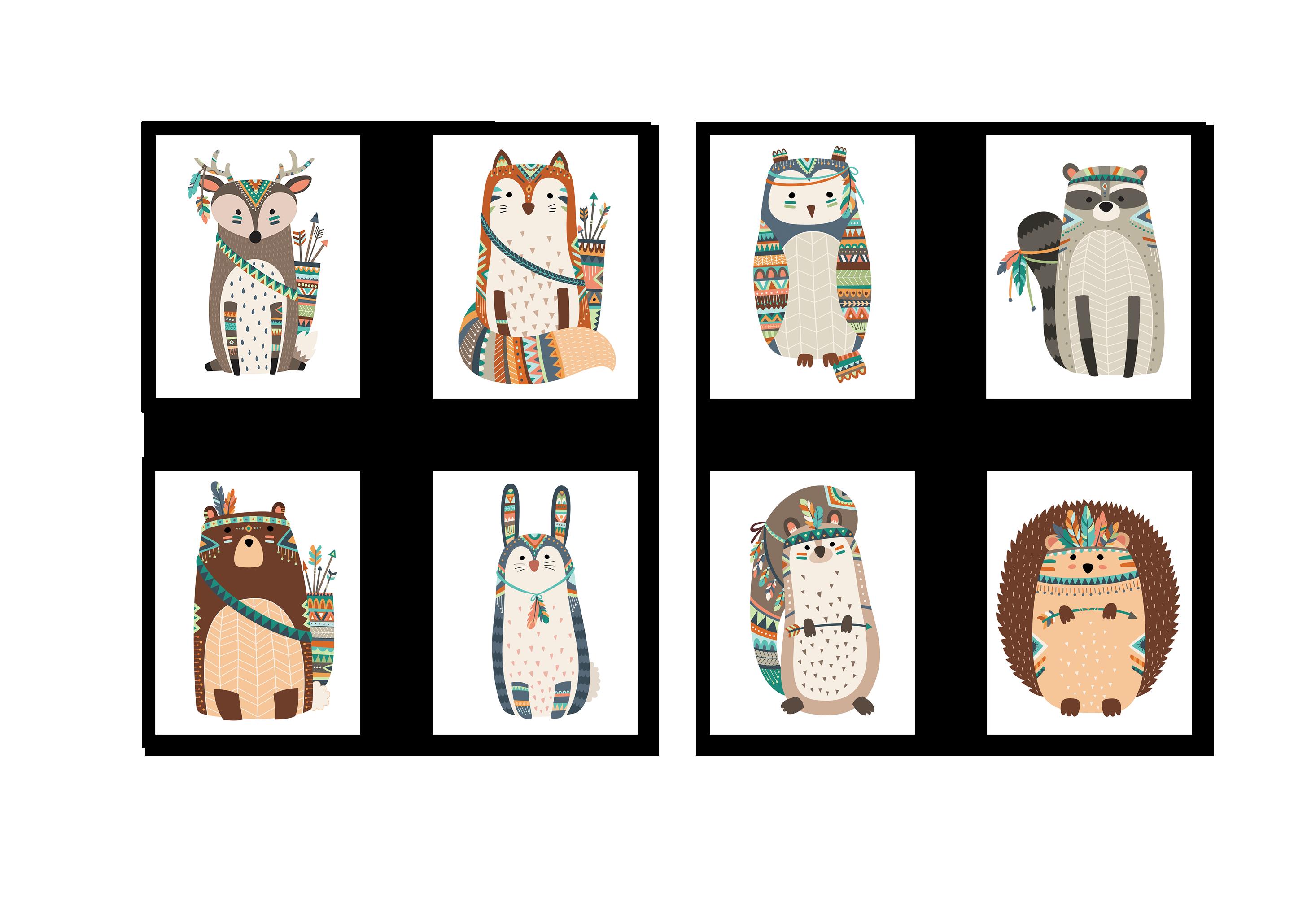 Tranh trang trí phòng trẻ em Woodland and tribal animal
