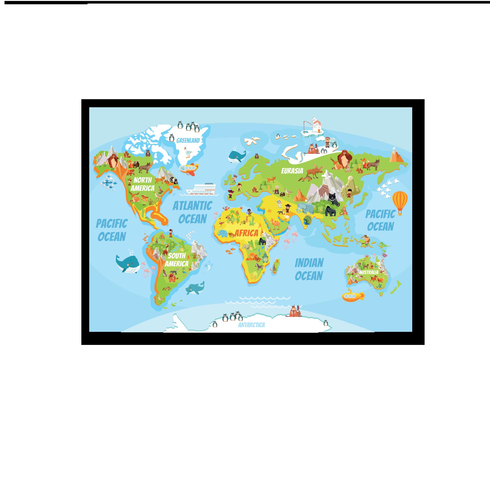 Tranh trang trí phòng trẻ em World map 01