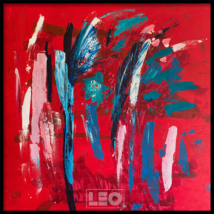 Tranh lẻ canvas Abstract Red & Blue